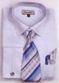 SKU#GB7329 Men's French Cuff Shirts with Cuff Links Light Blue $65