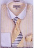 SKU#YB4035 Men's French Cuff Shirts with Cuff Links Mustard $65