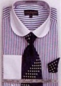 SKU#HQ2091 Men's French Cuff Shirts with Cuff Links Royal $65