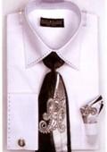 SKU#HX4232 Mens French Cuff Shirts with Cuff Links White $65