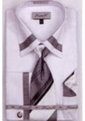 SKU#TX5016 Men's French Cuff Shirts with Cuff Links White $65