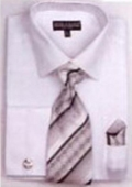 SKU#TZ1059 Men's French Cuff Shirts with Cuff Links White $65