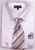SKU#TZ1059 Men's French Cuff Shirts with Cuff Links White $65