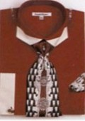 SKU#GY2749 Men's French Cuff Shirts with Cuff Links Wine $65