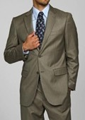SKU#AS9444 Men's Light Olive Pinstripe 2-button Suit $139