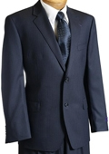 SKU#TJ4501 Mens Navy Pinstripe Wool Italian Design Suit Navy $399