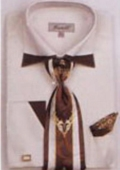 SKU#HM7765 Mens Patched French Cuff Shirts with Cuff Links Ivory $65