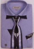 SKU#LB7392 Men's Patched French Cuff Shirts with Cuff Links Light Blue $65