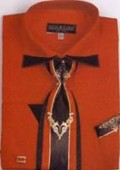 SKU#JK8552 Men's Patched French Cuff Shirts with Cuff Links Red $65