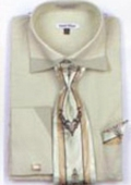 SKU#FC7932 Men's Patched French Cuff Shirts with Cuff Links Sage $65