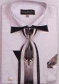 SKU#WS732 Men's Patched French Cuff Shirts with Cuff Links White $65
