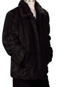 SKU#NK8392 Mens Stylish Faux Fur 3/4 Length Coat Black $150
