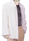 SKU#SC8291 Mens Stylish Faux Fur 3/4 Length Coat White $150