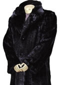 SKU#RE7743 Mens Stylish Faux Fur Full Length Coat Black $165