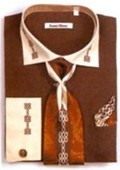 SKU#XP6732 Men's Two Tone Embroidery French Cuff Shirts with Cuff Links Dark Brown $65
