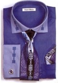 SKU#NV2377 Men's Two Tone Embroidery French Cuff Shirts with Cuff Links French Blue $65