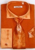 SKU#BL6732 Men's Two Tone Embroidery French Cuff Shirts with Cuff Links Rust $65
