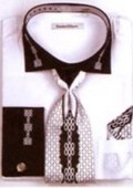 SKU#EM7293 Men's Two Tone Embroidery French Cuff Shirts with Cuff Links White $65