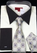 Off White Shirt Tie and Hankie Set $65