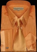 SKU#QM1093 Orange Satin Shirt Tie and Hankie Set $65