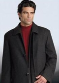 "SKU#Sloan3121 35"" Charcoal Gray four button fly front coat with set-in sleeves Wool&Cashmere $195"