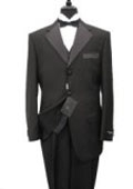 SKU# OKF355 premeier quality italian fabric Vested Mens Tuxedo Super 150's Wool Jacket + Pants + Shirt + Bow Tie $175