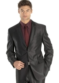 sharkskin Single Breasted Mens