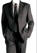 SKU#ASHI3 Solid Black Formal Suit +Shirt&Tie As seen in picture (Not Satin Laple(Not Tuxedo) $109