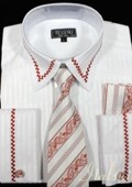 White with Red Trim Shirt Tie and Hankie Set French Cuff with Cufflink $65