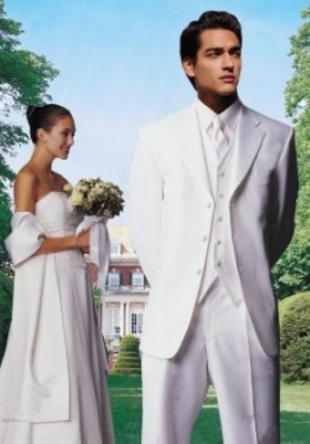 New Vintage Tuxedos, Tailcoats, Morning Suits, Dinner Jackets White 3Button Tuxedo $109.00 AT vintagedancer.com