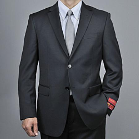 SKU#KA1480 Mens Black Wool 2-button Suit $165