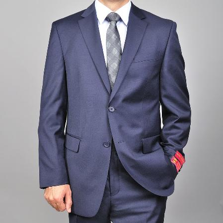 SKU#KA1481 Authentic Mantoni Brand Mens Solid Navy Blue 2-button Wool Suit