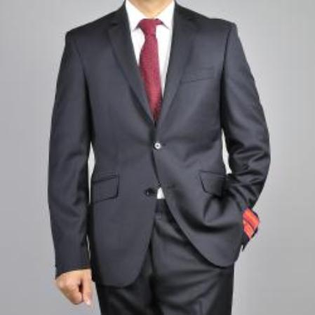 SKU#KA1482 Mens Black 2-Button Wool Slim-Fit Suit $165