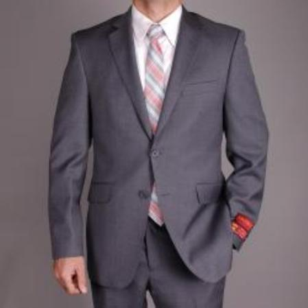 SKU#KA1483 Mens Charcoal Gray Wool Slim-fit 2-button Suit $165
