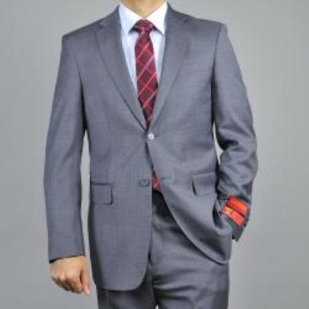 SKU#KA1484 Authentic Mantoni Brand Mens Charcoal Grey 2-button Classic Wool Suit