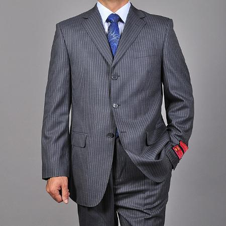 SKU#KA1486 Mens Charcoal Grey 3-button Wool Suit $165