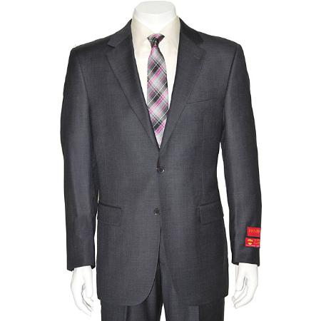 SKU#KA1487 Authentic Mantoni Brand Mens Grey Two-button Wool Suit