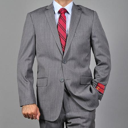 SKU#KA1488 Mens Slim-fit Textured Grey Wool 2-button Suit $165