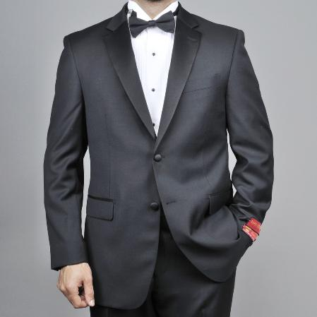 SKU#KA1489 Authentic Mantoni Brand Mens 2-button Black Wool Tuxedo