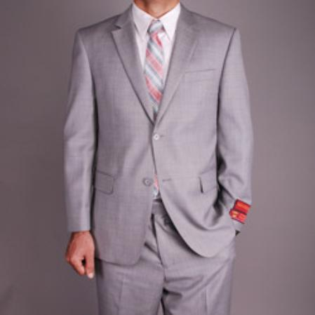 SKU#KA1490 Authentic Mantoni Brand Mens Light Grey Wool 2-button Suit