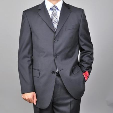 SKU#KA1491 Authentic Mantoni Brand Mens Solid Black 3 buttons Suit