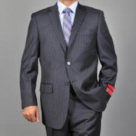 SKU#KA1492 Mens Charcoal Grey 2-button Wool Suit $165