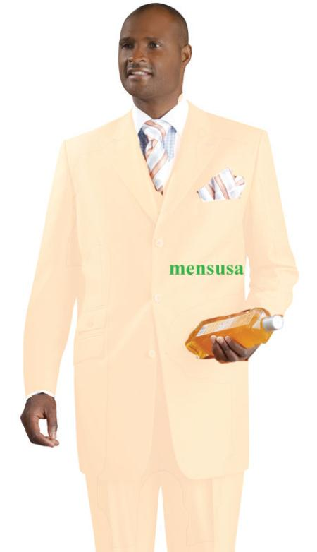 SKU#KA1493 Fashion Suit 3 Button Peak Lapel Vested 34 inch long Pleated panted Ticket Pocket+Cream