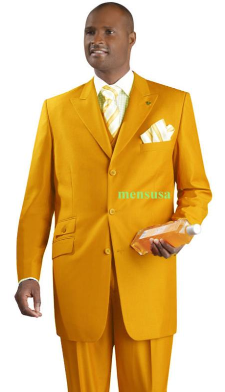 SKU#KA1494 Fashion Suit 3 Button Peak Lapel Vested 34 inch long Pleated panted Ticket Pocket+Gold