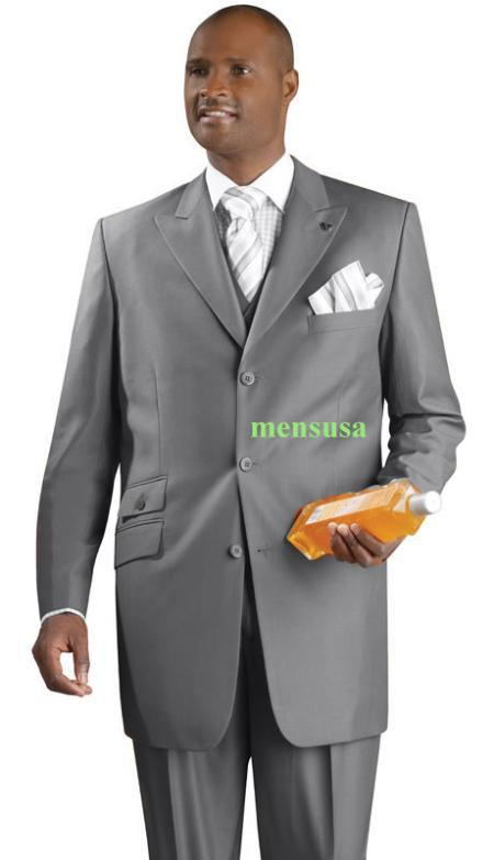 SKU#KA1495 Fashion Suit 3 Button Peak Lapel Vested 34 inch long Pleated panted Ticket Pocket+Grey