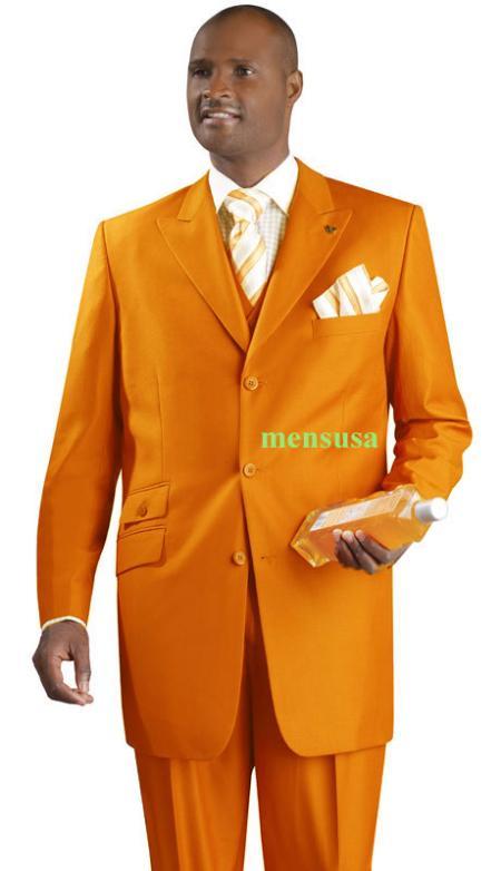 SKU#KA1496  Fashion Suit 3 Button Peak Lapel Vested 34 inch long Pleated panted Ticket Pocket+orange