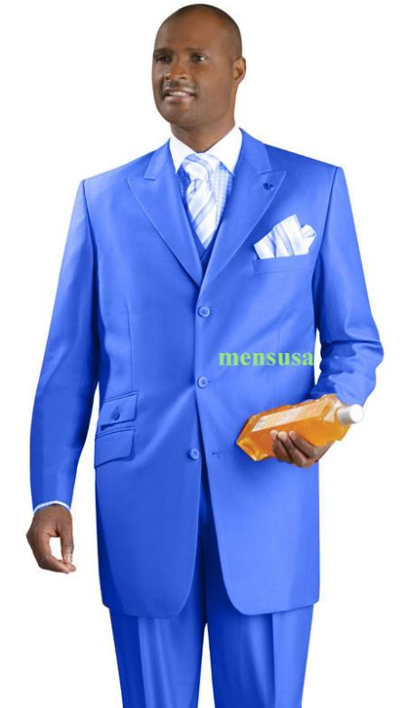SKU#KA1499 Fashion Suit 3 Button Peak Lapel Vested 34 inch long Pleated panted Ticket Pocket+Royal B