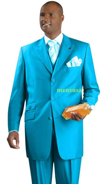 SKU#KA1497 Fashion Suit 3 Button Peak Lapel Vested 34 inch long Pleated panted Ticket Pocket+Sky Blu