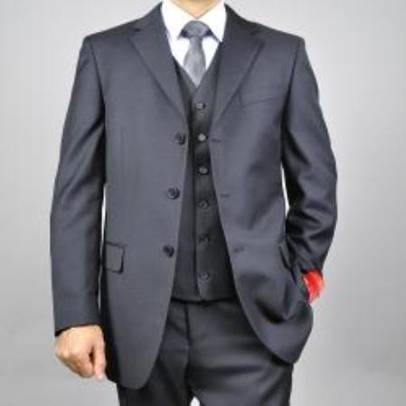 SKU#KA1498 Mens Solid Black 3-button Vested Wool Suit $165