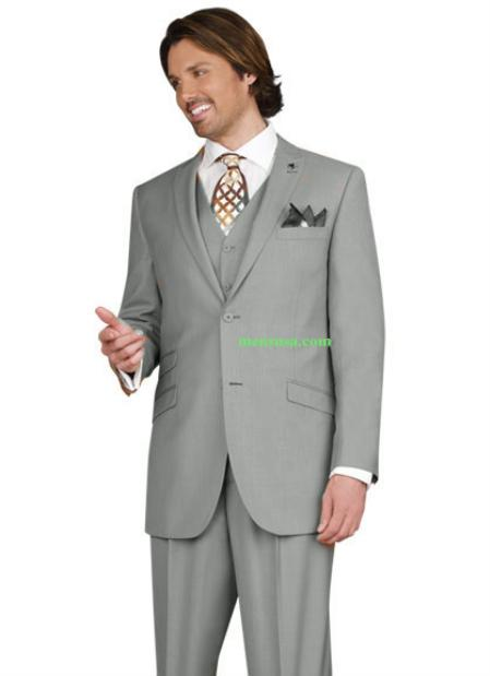 SKU#KA14503 Mens 2 button Peak Lapel Ticket pocket Pleated pants Gray Color Suit $165